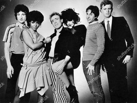 The Waitresses, Billy Ficca, Tracy Wormworth, Mars Williams, Holly Beth Vincent, Chris Butler, Dan Klayman, circa 1983