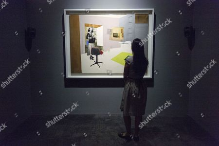 Painting titled Interior II (1964) by artist Richard Hamilton