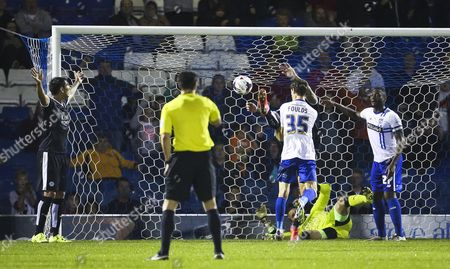Matty Foulds of Bury has a goal ruled out for a foul on Leicester City's Mark Schwarzer
