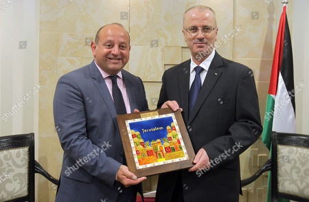 Palestinian Prime Minister Rami Hamdallah meets with European Union representative to Palestinian territories John Rutter