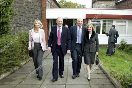 Sandra and Michael Howard with Iain and Betsy Duncan Smith at a community project in Pollock.