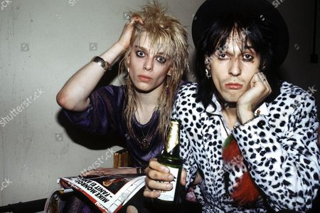 MIKE MONROE AND ANDY MCCOY OF HANOI ROCKS BACKSTAGE OF THEIR FIRST LONDON CONCERT AT THE VENUE IN VICTORIA, LONDON - 1984