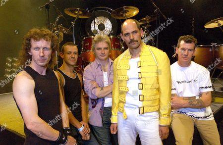 'Flash Harry' Queen Tribute Band L-R: Stevie Shanks, Steve Prosser, Ian Wilson, Harry Hamilton and John Cleland
