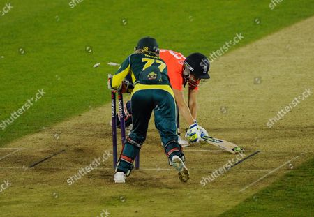 Charlotte Taylor has her stump taken by Alyssa Healy, 82-2, during the NatWest T20 International Ashes match between England Women and Australia Women played at The Essex County Ground, Chelmsford