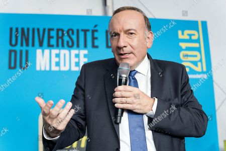 Press conference -French employers association Medef President Pierre Gattaz during the Medef Summer Conference in Jouy-en-Josas, near Paris