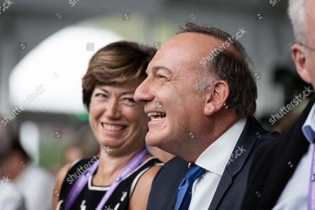 Anne-Marie Couderc and French employers' association Medef President Pierre Gattaz
