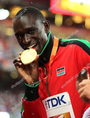 David Rudisha of Keyna the winner of the 800 m.
