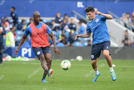 Alejandro Faurlin and Samba Diakite during a QPR Open Day training session at Loftus Road, London on August 27th 2015