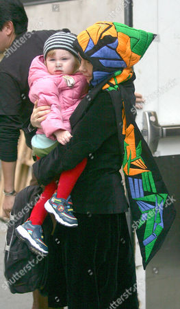 Stock Image of Bjork with her daughter Isadora Barney at The Apple Store in SoHo