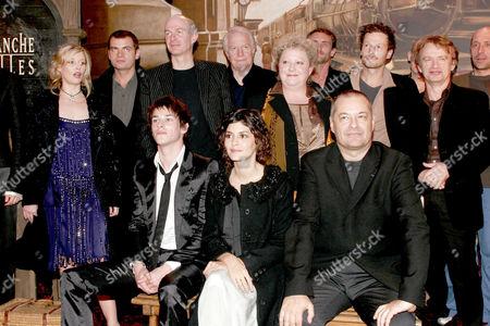 CAST - Including Florence Thomassin (L), Clovis Cornillac(2nd L), unknown, Andre Dussolierg, Jean Paul Rouve, Gaspard Ulliel (front L) Audrey Tautou (2nd L)
