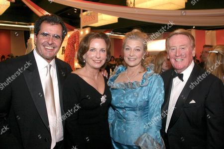 Peter Chernin, wife Megan, Vin Scully, wife Sandra Hunt