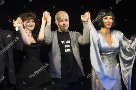 Carly Bawden (Dahlia), Stephen Wight (Lee) and Tracy-Ann Oberman (Isabella Blow) during the curtain call