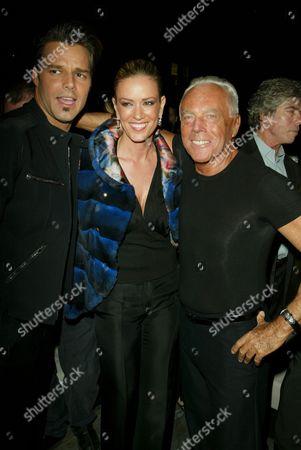 Ricky Martin, Rebecca de Alba and Giorgio Armani