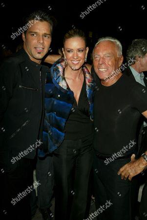 Stock Image of Ricky Martin, Rebecca de Alba and Giorgio Armani