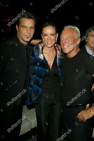 Stock Image of Ricky Martin, Rebecca de Alba and Giorgio Armani