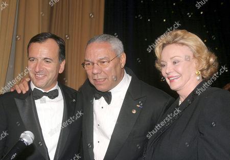 FRANCO FRATTINI, COLIN POWELL AND BARBARA SINATRA.