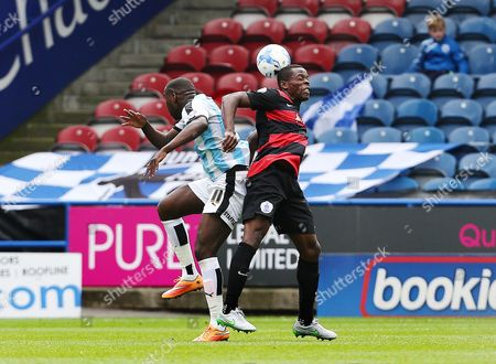 Nedum Onuoha of QPR and Ishmael Miller of Huddersfield Town during the Sky Bet Championship match between Huddersfield Town and QPR played at the John Smith's stadium, Huddersfield