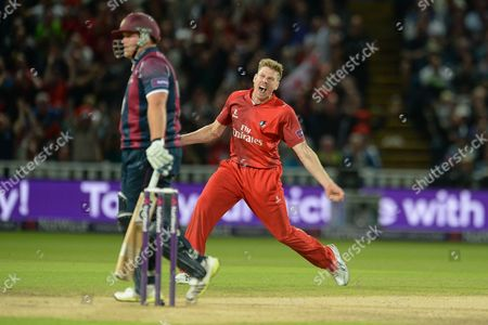 James Faulkner celebrates the wicket of Richard Levi during the NatWest T20 Blast final match between Northants Steelbacks and Lancashire Lightning at Edgbaston, Birmingham