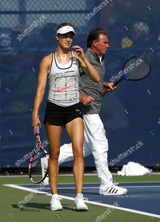 Eugenie bouchard of Canada and new coach Jimmy Connors during practice at the US Open, Flushing, New York, 2015