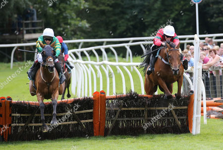 HIGHPOWER and Richard Johnson (green/yellow) at the last with Sharp Rise and James Reveley to win at Cartmel