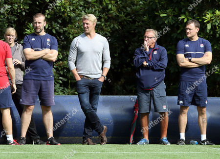 Lewis Moody (Grey Top) keeps an eye on England