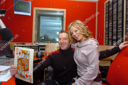 George Bowie and Geri Halliwell. Geri Halliwell visiting Radio Clyde to promote her new single 'Ride It', she also helped a listener win £2100 on air by picking the king of diamonds card