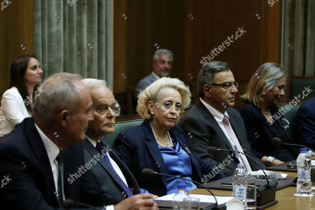 Newly appointed Greek caretaker Prime Minister Vassiliki Thanou during the first Cabinet meeting