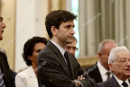 New Greek Finance Minister George Chouliarakis at the Swearing in ceremony and first Cabinet meeting