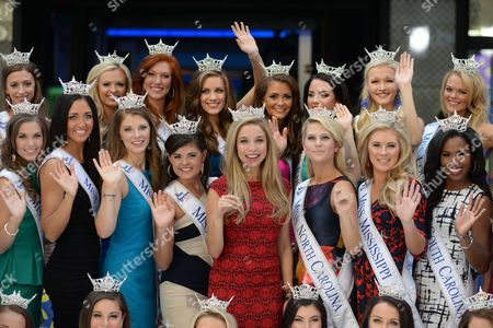 In celebration of the upcoming Miss America Competition (9/13), reigning Miss America, NY's own Kira Kazantsev (center,red dress), and the 52 contestants competing for the 2016 title take over Times Square.