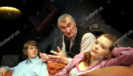 Rory Jennings (David), Edward Peel (Robert) and Andrea Lowe (Charlere); 'Gong Donkeys' Play at the Bush Theatre, London