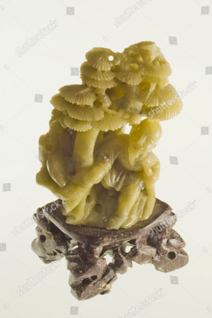 Hand-made jade sculpture depicting monk and a forest, China, Asia