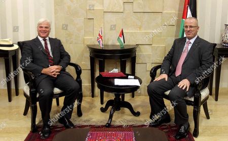 Editorial image of Palestinian Prime Minister Rami Hamdallah meets with British Minister for International Development Desmond Swayne, Ramallah, Palestinian Territories - 02 Sep 2015