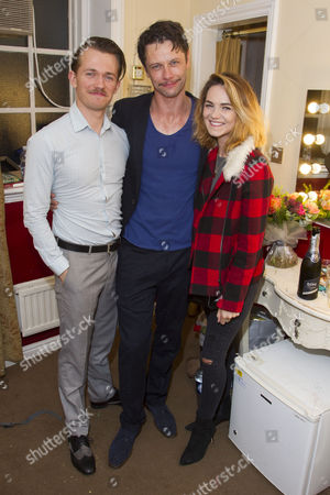 Greg Austin, Leon Ockenden (Peter Kyle) and Kara Tointon backstage