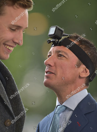 Frankie Dettori, jockey, filming with a camera on his head, talks to TV presenter, Ollie Bell @ Ascot Racecourse. 4.9.15. Pic: Hugh Routledge