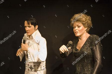 Stock Image of Elvis Aron Presley and Tina Turner Anna Mae Bullock as wax figures Wax museum of Prague Czechia