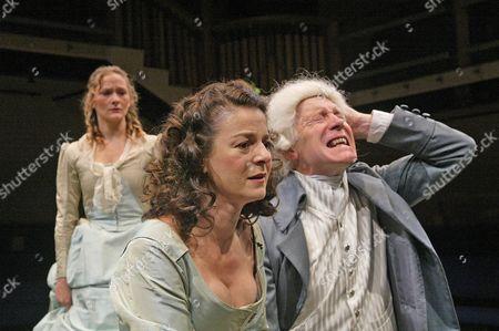 Octavia Walters (Ann), Miranda Foster (Sarah), Richard Howard (Carnaby), 'The Marrying of Ann Leete', Orange Tree Theatre