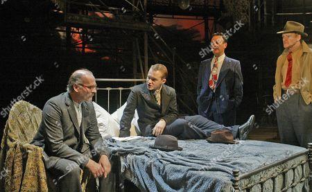 Michael Jibson (Pinkie), Paul Bentall (Spicer), David Burt (Dallow), Neil McCaul (Cubitt), 'Brighton Rock', Almeida Theatre