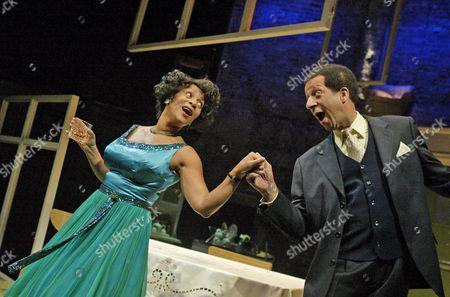 Dona Croll (Mona), Derek Griffiths (Lenny),Two Step, Almeida Theatre.