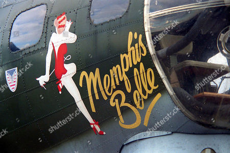 Stock Photo of United States Air Force world war two B-17G Flying Fortress bomber named ' Sally B which starred in the film ' Memphis Belle ' famous Hollywood legend Betty Grable artwork adorns the nose at Imperial war museum's Duxford Autumn Airshow Cambridgeshire, Britain.