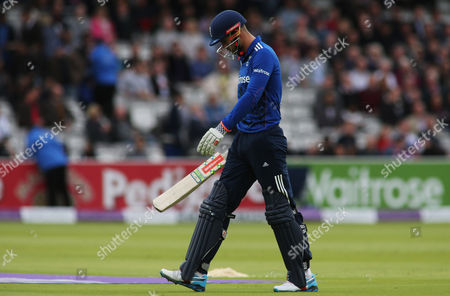 Alex Hales leaves the field looking dejected after being caught out by Steve Smith off the bowling of Nathan Coulter-Nile during the second Royal London ODI match between England and Australia played at Lord's, London