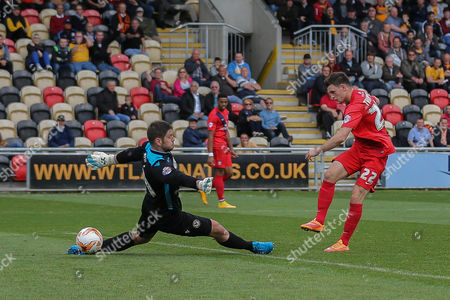 Offside York City forward Reece Thompson puts the ball into the net during the Sky Bet League 2 match between Newport County and York City at Rodney Parade, Newport