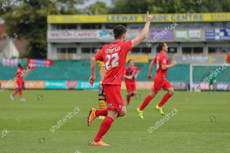 York City forward Reece Thompson celebrates his goal during the Sky Bet League 2 match between Newport County and York City at Rodney Parade, Newport