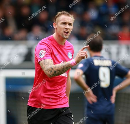 Jack Collison passes on instructions during the Sky Bet League 1 match between Southend United and Peterborough United at Roots Hall, Southend