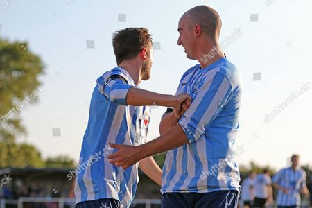 Jack Hayward of Worthing United celebrates with Sam Blundell as he puts his side 1- infront during the FA Vase 1st Qualifying Round match between Worthing United and East Preston FC at the Robert Eaton Memorial Ground, Worthing