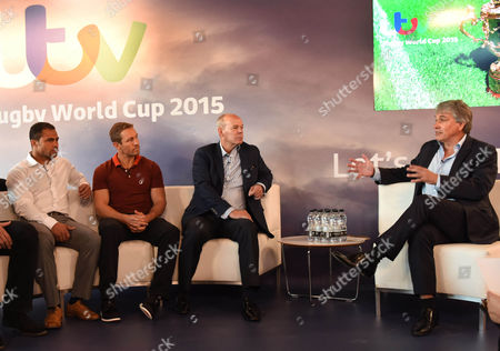 Stock Photo of Jason Robinson Jonny Wilkinson Sir Clive Wood ward and John Inverdale