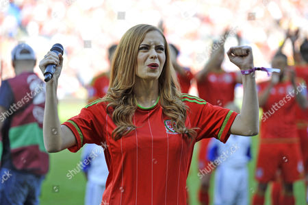 Stock Picture of Welsh singer Sophie Evans ahead of kick off.