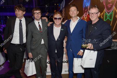 Blur - Damon Albarn, Graham Coxon, Alex James, Dave Rowntree with Sir Elton John