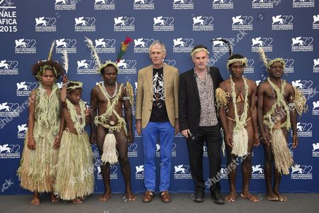 The actors from the tribe Yakel of the Island of Tanna with the directors, Martin Butler and Bentley Dean