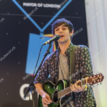 Stock Photo of Eurostar winner Alex James Ellison performs