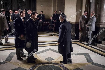Jeremy Piven as Harry Selfridge, Aidan McArdle as Lord Loxley and Greg Austin as Gordon Selfridge